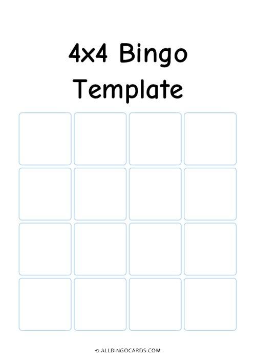 4x4 Bingo Template