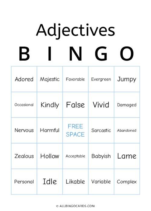 Adjectives Bingo