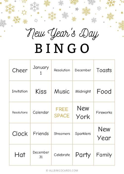 New Years Day Bingo