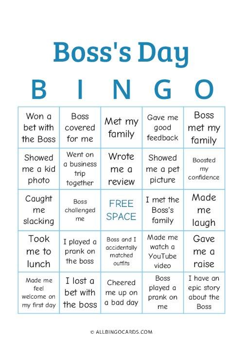 Boss Day Bingo