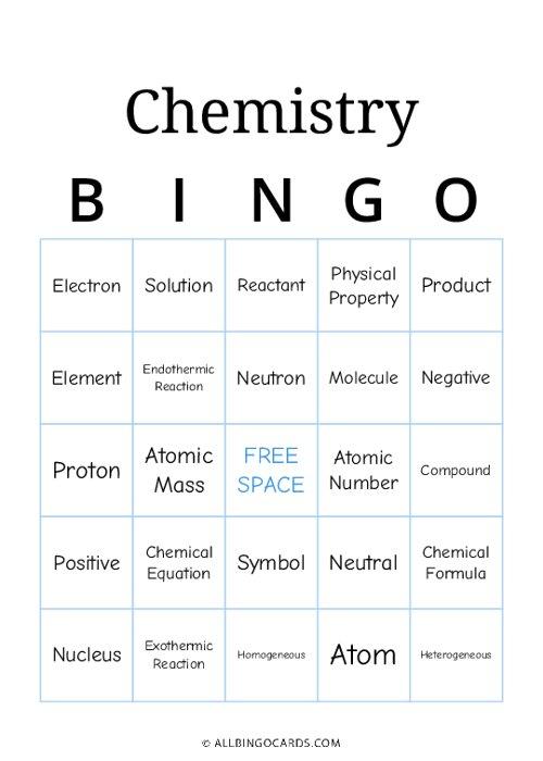 Chemistry Bingo