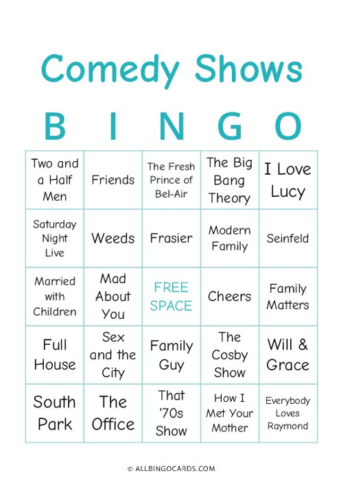Comedy Shows Bingo