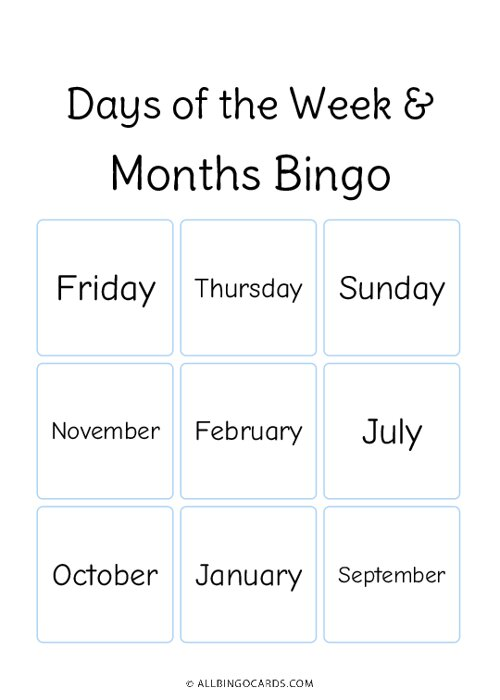 Days of the Week and Month Bingo