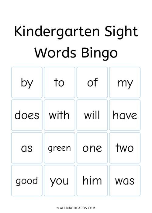 Kindergarten Sight Words Bingo