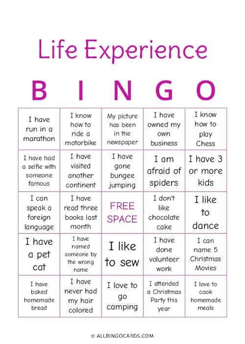 Life Experience Bingo