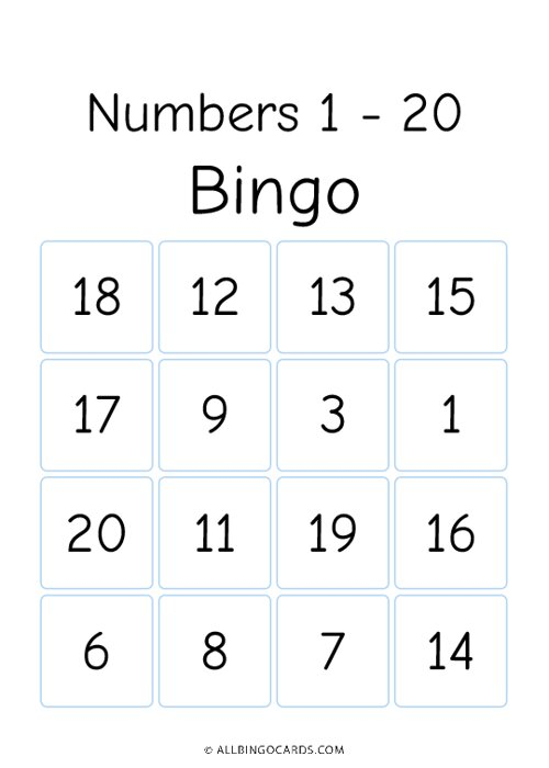 1 - 20 Number Bingo