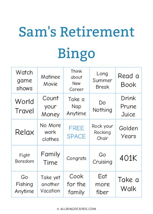 Retirement Bingo