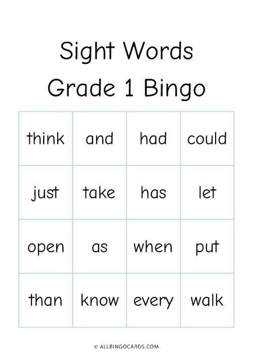 Grade 1 Sight Words Bingo