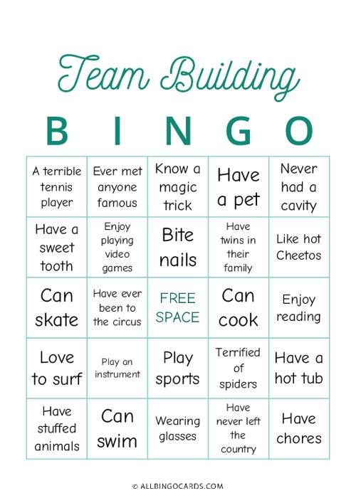 Team Building Bingo