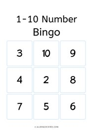 Numbers 1 - 10 Bingo