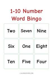 1-10 Number Word Bingo