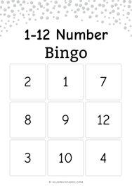 1-12 number Bingo