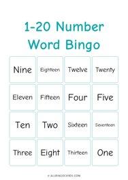 1-20 Number Word Bingo