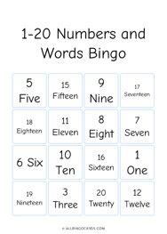 1-20 Numbers and Words Bingo