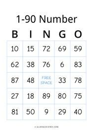1-90 Number Bingo