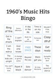 1960s Music Hits Bingo