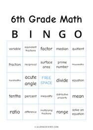 6th Grade Math Bingo