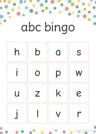 Lowercase ABC Bingo