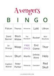 Avengers Bingo