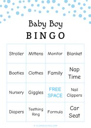 Baby Boy Shower Bingo