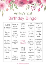 Ashleys 21st Birthday Bingo
