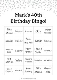 Marks 40th Birthday Bingo
