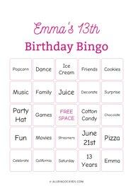 Emmas 13th Birthday Bingo