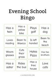 Evening School Bingo