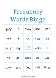 Frequency Words Bingo