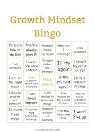 Growth Mindset Bingo