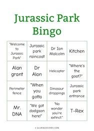 Jurassic Park Bingo