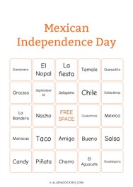 Mexican Independence Day Bingo