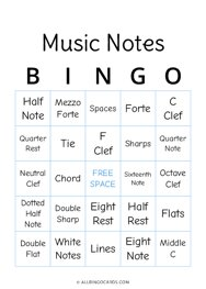 Music Notes Bingo