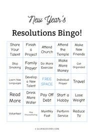 New Years Resolution Bingo