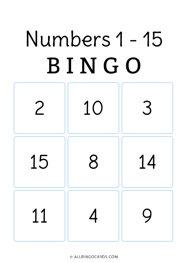 Numbers 1 - 15 Bingo