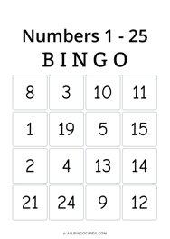 Numbers 1 - 25 Bingo