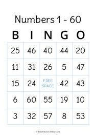 1 - 60 Number Bingo