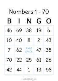 1 - 70 Number Bingo