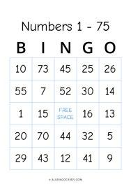 Number 1 - 75 Bingo