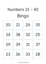 Numbers 21-40 Bingo