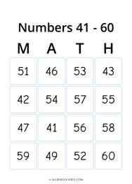 Numbers 41 - 60 Bingo