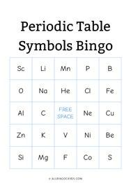 Periodic Table Symbols Bingo