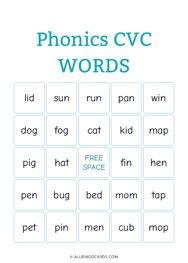 Phonics CVC Words Bingo