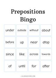 Prepositions Bingo