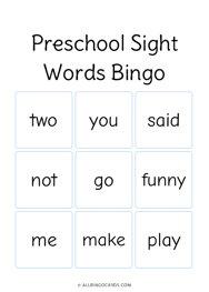 Preschool Sight Words Bingo