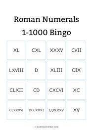 Roman Numerals 1-1000 Bingo