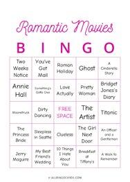 Romantic Movies Bingo