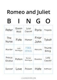 Romeo and Juliet Bingo