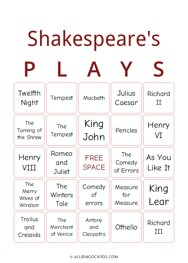 Shakespeares Plays Bingo