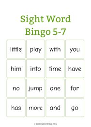 Sight Word Bingo 5-7